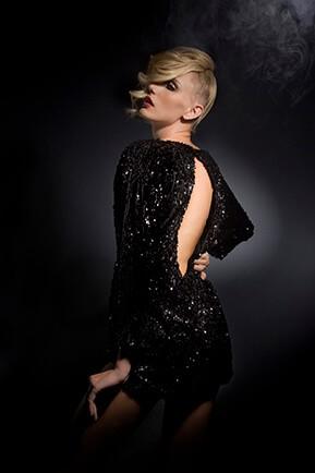 girl headshot photographed black dress
