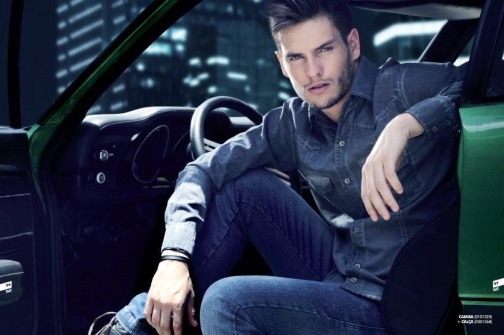 Influencer model with jeans and handsome look
