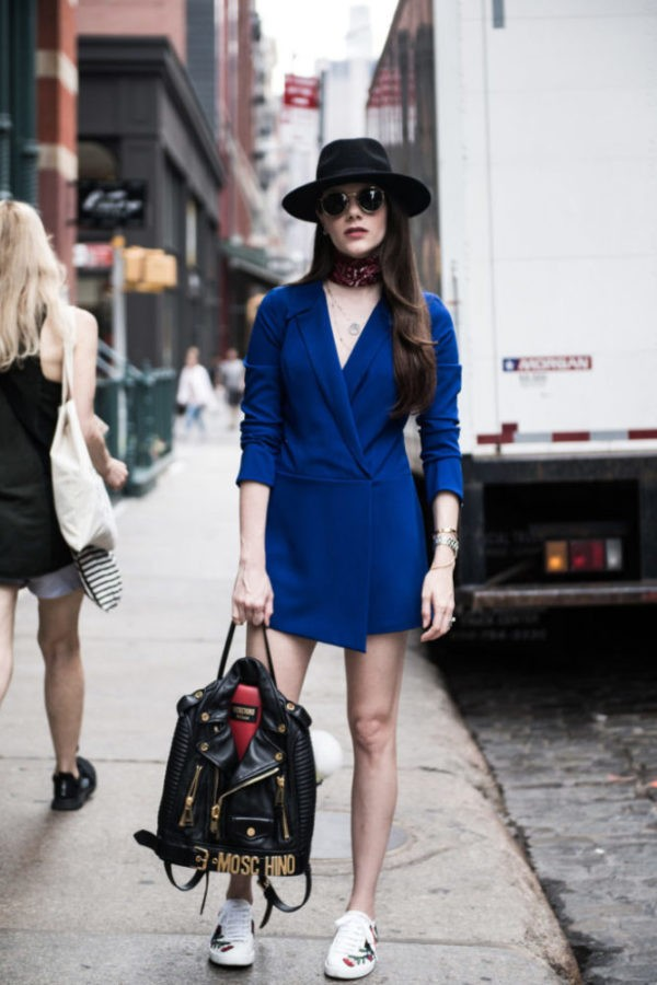 NYC portrait of a girl on blue dress and sunglasses